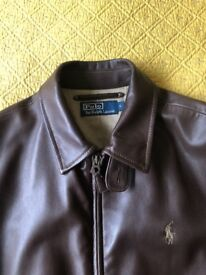 Ralph Lauren Polo Brand Mens Lambskin Leather Jacket , Size S