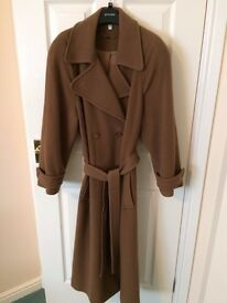 Ladies Cashmere and Wool full length camel coat, size 12 - £35
