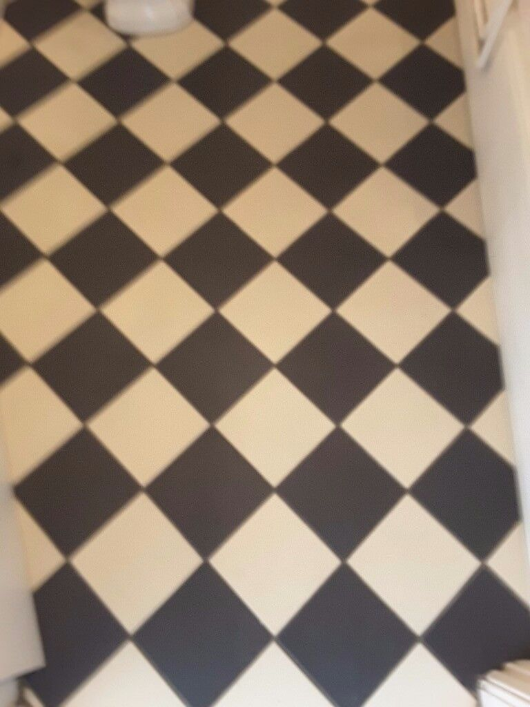 Beautiful Dove White and Black Victorian Style Tiles