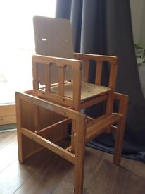2in1 - Combination Wooden High chair and table set