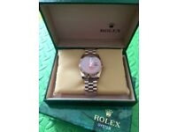 New rose gold choc dial rolex day date watch diamond