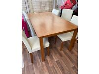 WOODEN OAK DINING TABLE 6 CHAIRS
