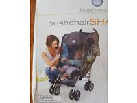 Pushchair sunshade. Upf 50+ , mesh shade protects against sun.