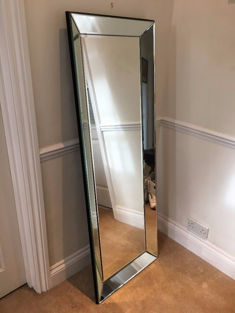 Large Mirror Bevelled Edges Wall Mounted Or Free Standing