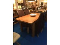 Extending Oak Dining Table 120cm-150cm & 4 Modern Dining Chairs