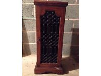 CD storage unit. 21 cm deep, 88 cm high, 35cm wide. Oak wood and black wrought iron .