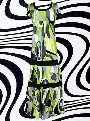 G12✪ Psychedelic 60er 70er Jahre Panton Ära Maxi Kleid Kostüm Hippie Twiggy - 60er Ära Kostüm