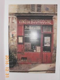 'VINS DE BOURGOGNE' LARGE CANVAS WALL ART BY CHIU TAK HAK. FRENCH STREET / CAFE SCENE. IMMACULATE.
