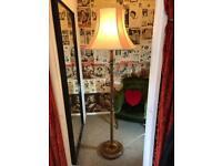 Standard Lamp, vintage wooden base and large shade