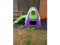 Rocket Climbing Frame - Plastic Activity Centre with Slide