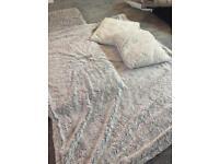 Silver fluffy grey throw with 2 cushions