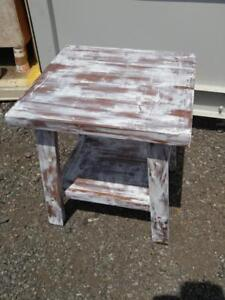 Oakville SHABBY CHIC Side Table Chalk Paint Rustic White Streaky Tall Hall Solid Sturdy