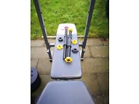 Selling gym bench and 65 kg weight