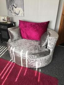 Stunning silver velvet suite 3 seater sofa cuddle chair and poffee