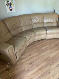 Large leather sofa - genuine leather - FREE!!