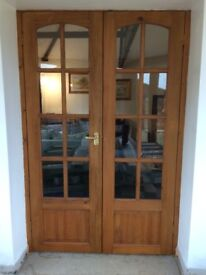 Part Glazed Pine French Doors in Good Used Condition.