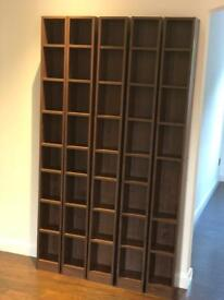 5 walnut effect storage units for DVD's, CD's or books
