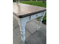 Large rustic farmhouse kitchen/dining table with drawer. Distressed antique white/shabby chic