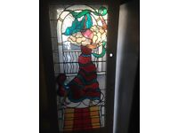 Reclaimed Leaded Stained Glass Door - 1940's Colourful Lady Dancing Flamenco Style