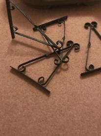 4 identical hanging basket brackets