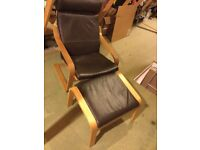 IKEA LEATHER CHAIR AND FOOTSTOOL