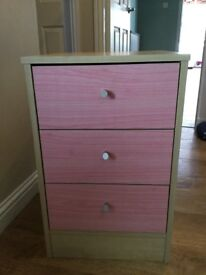 Pink Malibu Bedside Chest of Drawers