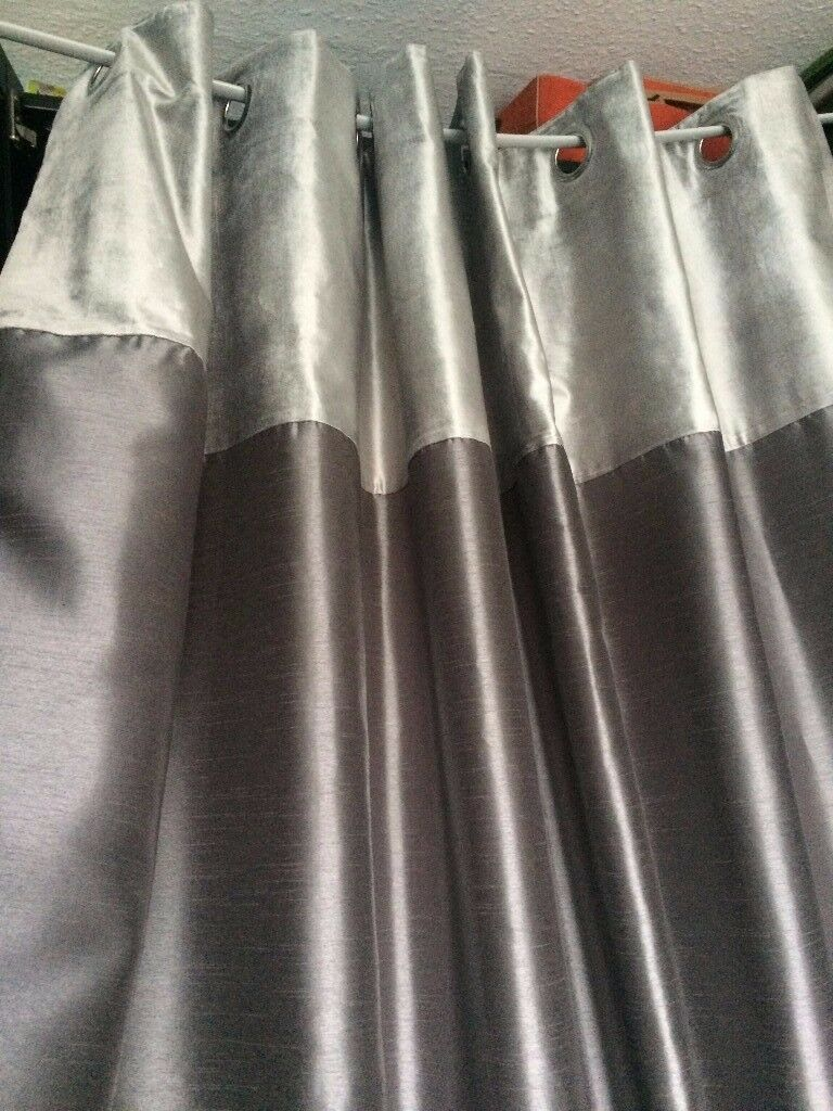BARGAIN HOME CLEARENCE 2x Signature Deluxe Luxury Elegant Curtains Velvet Shiny Silver
