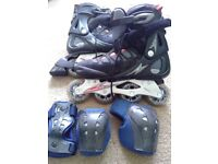 Men's rollerblades size 8 with revolution safety pads