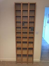 3x IKEA BENNO (Gnedby) shelving unit CD DVD towers shelves Oak effect
