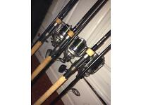 2x fox warrior tt rods 3.25 tc, 1 x fox warrior s 3lb tc Nash rod bag