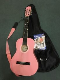 Ashton 3/4 Size Childrens Pink guitar Starter Pack Inc Music stand & Tuner