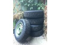 Five Brand New Steel Wheels & All Terrain Tyres. 5x160 PCD (Perfect for Transit Van)
