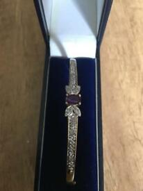 9ct gold diamond & amethyst bangle