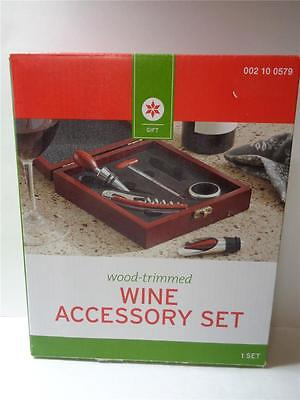NEW Wood Trimed Wine Accessory Set Cork Screw Opener Bottle Stopper Drip Collar
