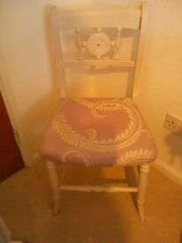 Vintage bedroom chair upholstered in Laura Ashley Marchmont fabric with matching cushion