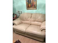 2 seater, Baige Leather Sofa, Good condition, Hardly used