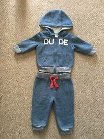 Blue DUDE jogging suit 3-6 months Bargain £2