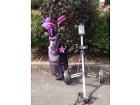 Ladies golf bag, clubs and trolley