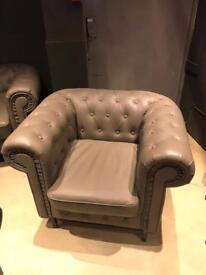 Two classic three seater chesterfields and one armchair