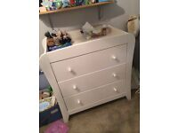 REDUCED PRICE Mama and Papas white cot bed, wardrobe and chest of drawers/changer