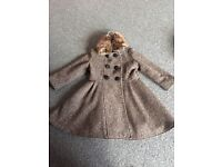 Beautiful tweed monsoon coat removable fur collet age 5-6