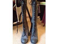 Women's Victorian high heel boots, dark blue, UK6/EU39
