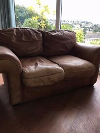 Furniture Village Brown Leather Sofa