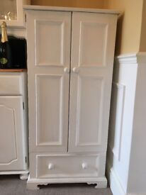 White painted pine cupboard - originally a record player cupboard with lift up top. Shabby chic