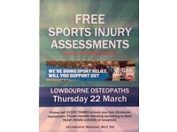 Free 15-minute assessments for all your sports injuries and niggles- Thursday 22nd March 2018
