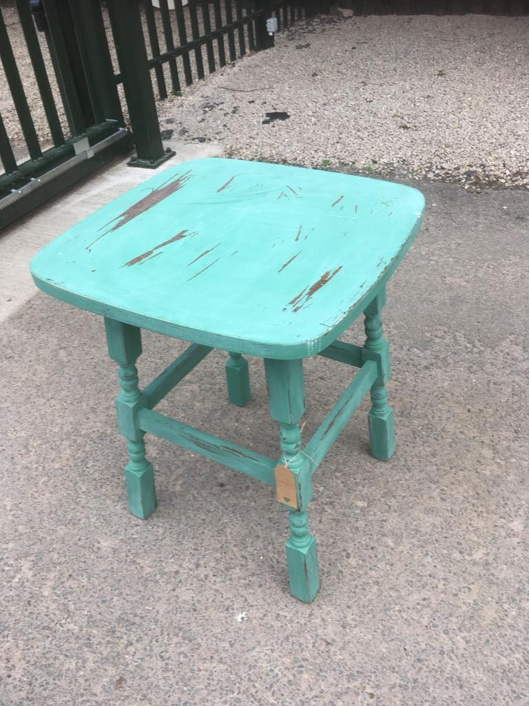 VINTAGE CHALK PAINTED DISTRESSED PUB TABLE - CAN DELIVER