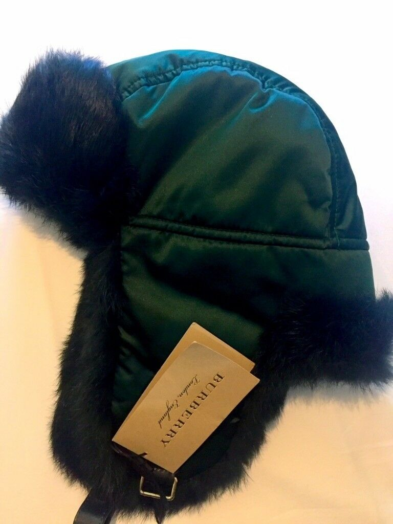 Burberry Black Rabbit Fur Aviator Hat 9fe82e83931