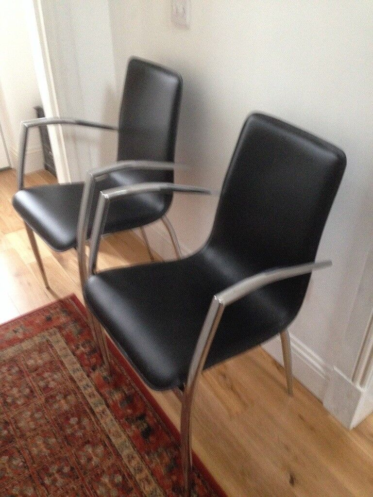 Pair Of Designer Actona Chrome And Real Leather Chairs