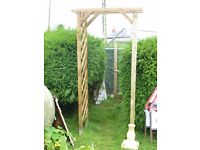 WOOD GARDEN ARCH / PERGOLA WITH TRELLIS SIDES IDEAL PLANT SUPPORT 7FT TALL