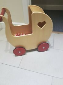 Moover Wooden Dolls Pram - early years